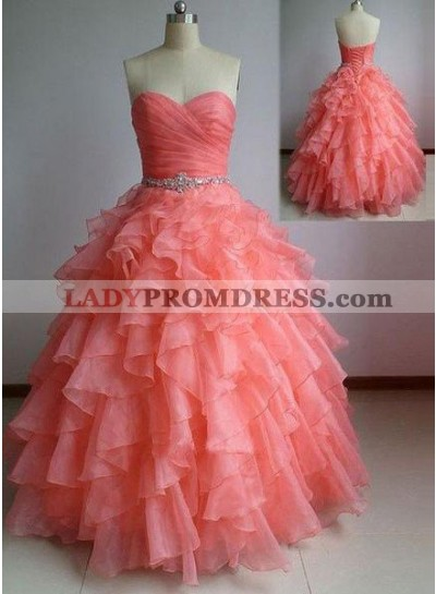 Floor-Length/Long Ball Gown Sweetheart Organza Prom Dresses