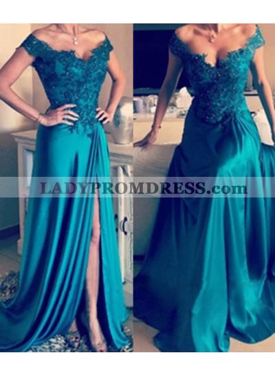 Off-the-Shoulder Appliques Split Front A-Line/Princess Satin Teal Prom Dresses