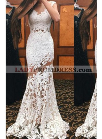 Sleeveless Natural Mermaid/Trumpet Lace Prom Dresses