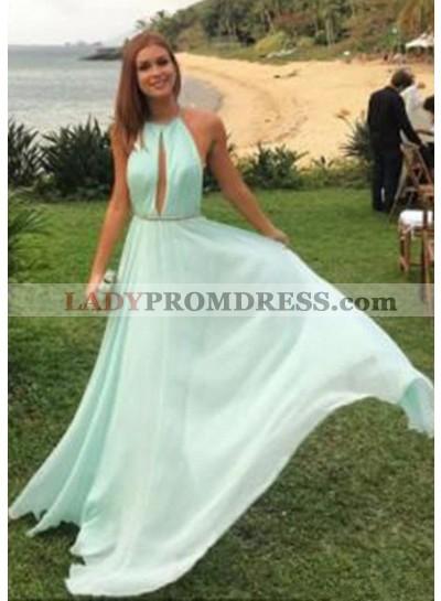 A-Line/Princess Halter Sleeveless Natural Backless Chiffon Sage Prom Dresses