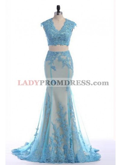LadyPromDress 2019 Blue Floor-Length/Long Appliques Mermaid/Trumpet Tulle Prom Dresses