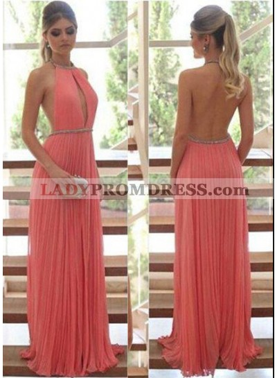 Water Melon A-Line/Princess Halter Sleeveless Natural Backless Pleats Prom Dresses