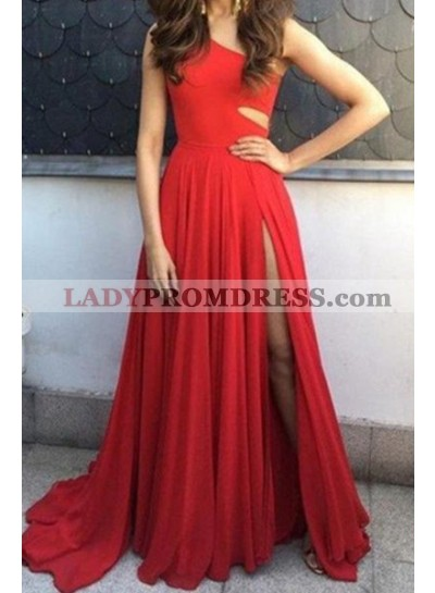 2019 Gorgeous Red A-Line/Princess One Shoulder Sleeveless Natural Sweep/Brush Train Chiffon Prom Dresses