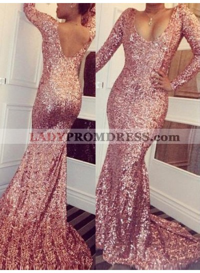 Mermaid/Trumpet Scoop Long Sleeve Natural Sequined Rose Gold Prom Dresses