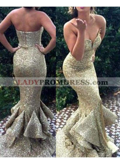 Sweetheart Mermaid/Trumpet Sequined Cheap Prom Dresses