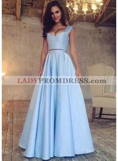 LadyPromDress 2021 Blue A-Line/Princess Sleeveless Natural Floor-Length/Long Satin Prom Dresses