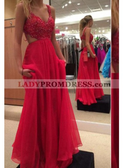 2021 Gorgeous Red Floor-Length/Long A-Line/Princess Beading Straps Chiffon Prom Dresses