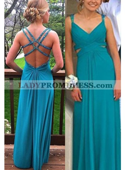 Prom Dresses Straps Backless Chiffon
