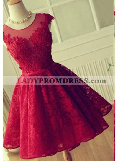 2019 Gorgeous Red Backless Short/Mini Appliques Natural A-Line/Princess Lace Prom Dresses