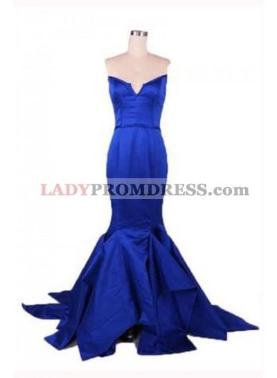 Floor-Length/Long Mermaid/Trumpet Notched Satin Prom Dresses