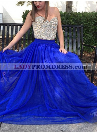 Royal Blue Beading Tulle Two Pieces Prom Dresses