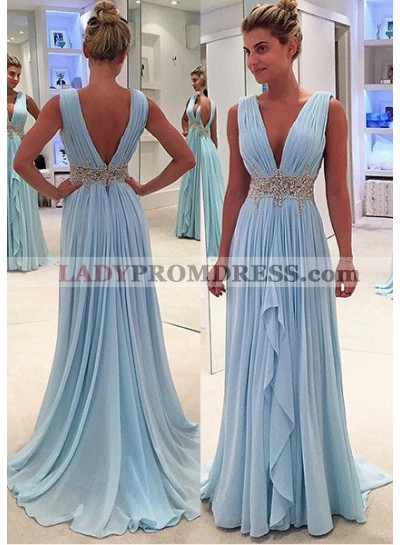 Light Sky Blue Ruffled Appliques V-Neck Sleeveless Chiffon Prom Dresses