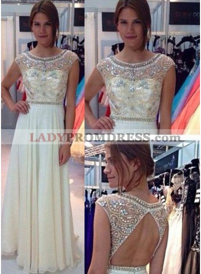 Champagne A-Line/Princess Sleeveless Natural Prom Floor-Length/Long Chiffon Prom Dresses