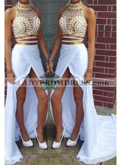 2019 Unique White Floor-Length/Long Column/Sheath High Neck Split Front Chiffon Prom Dresses