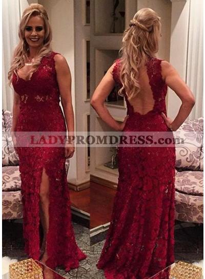 Burgundy V Neck Open Back Side Slit Lace Prom Dresses
