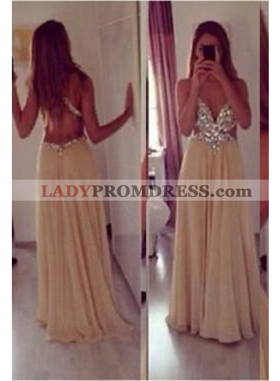 A-Line/Princess V-Neck Sleeveless Backless Floor-Length/Long Chiffon Champagne Champagne Prom Dresses