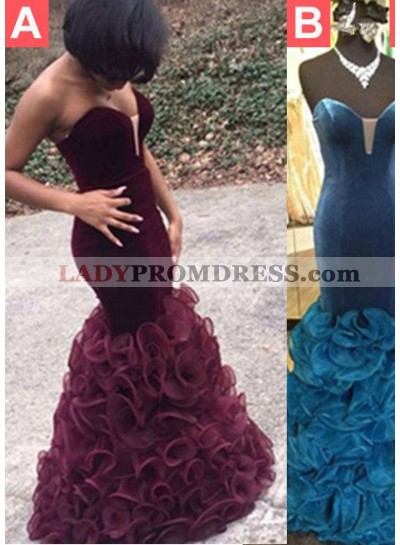 2021 Junoesque Black Sexy Sweetheart Cascading Satin Prom Dresses