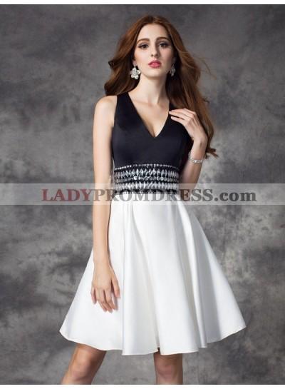A-Line Princess V-neck Rhinestone Sleeveless Short Satin Homecoming Dresses
