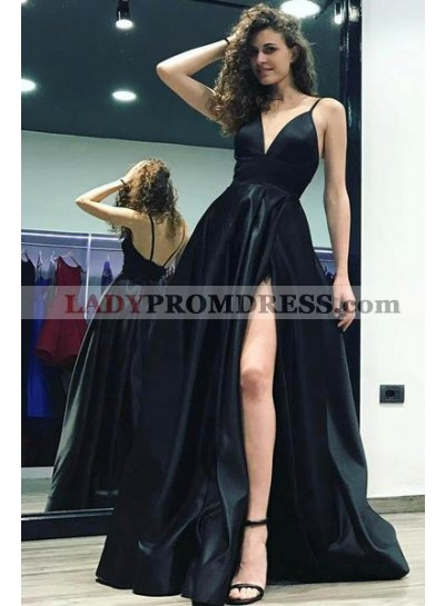 2020 Sexy Black Sweetheart Side Slit Satin Prom Dresses