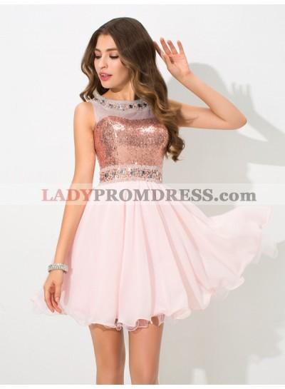 A-Line Princess Sheer Neck Sequin Sleeveless Short Chiffon Homecoming Dresses
