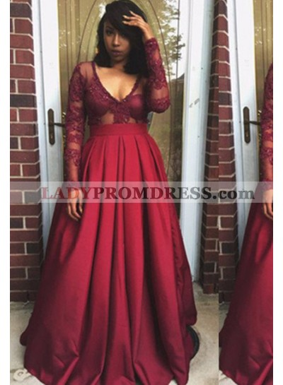 Long Sleeve V-Neck Lace A-Line/Princess Satin Burgundy Prom Dresses
