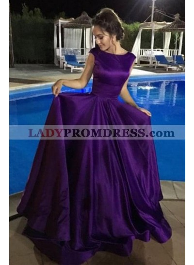 Designer Princess/A-Line Purple Satin Long Prom Dresses