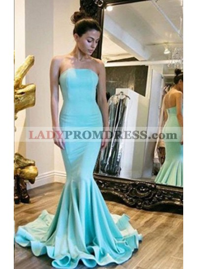 Strapless Natural Sweep Train Mermaid/Trumpet Prom Dresses