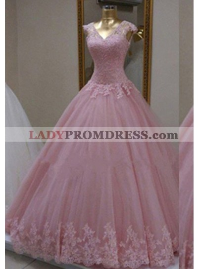 Capped Sleeves V-Neck Appliques Ball Gown Tulle Prom Dresses