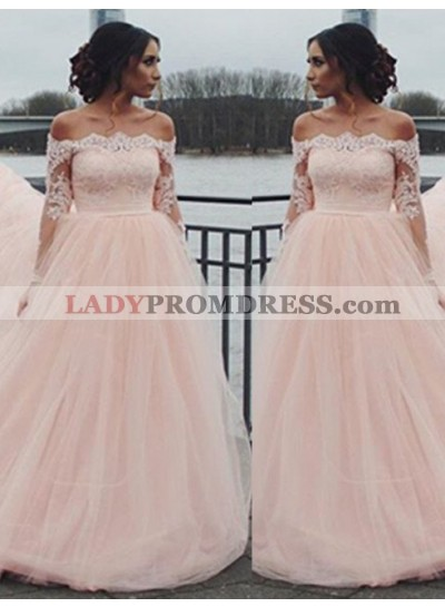 Long Sleeve Off-the-Shoulder Lace A-Line/Princess Tulle 2020 Glamorous Pink Prom Dresses