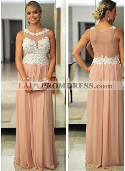 Champagne Round Neck Beading Sleeveless Floor-Length/Long A-Line/Princess Chiffon Prom Dresses