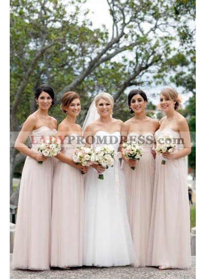2021 Cheap A Line Tulle Pearl Pink Sweetheart Long Bridesmaid Dresses / Gowns