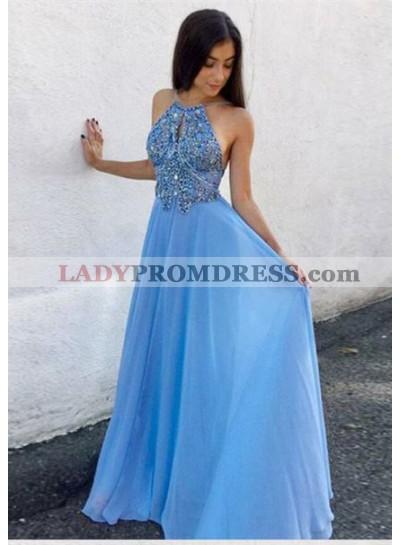 2021 Elegant Princess/A-Line Halter Backless Blue Chiffon Prom Dresses
