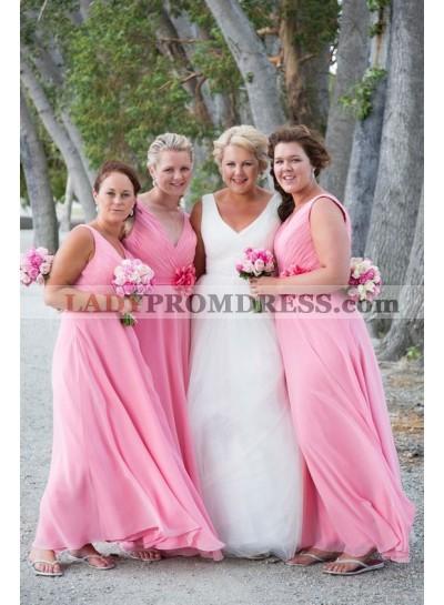 2021 A Line Chiffon Pink Bridesmaid Dresses