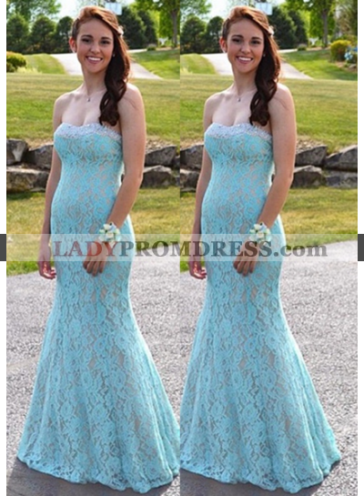 Backless Sweetheart Mermaid/Trumpet Lace Prom Dresses