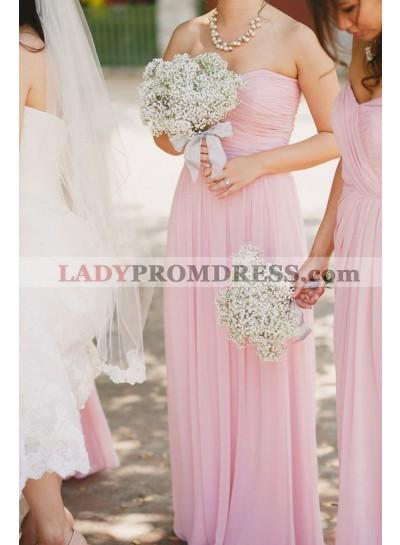 2021 Elegant A Line Pink Long Ruffles Chiffon Strapless Bridesmaid Dresses / Gowns