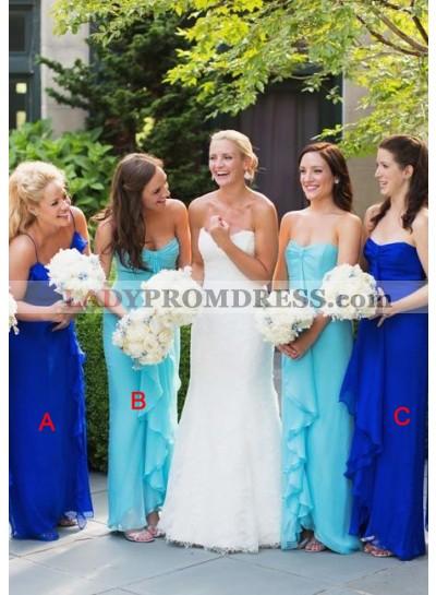 2021 Cheap A Line Royal Blue Chiffon Mint Long Bridesmaid Dresses / Gowns