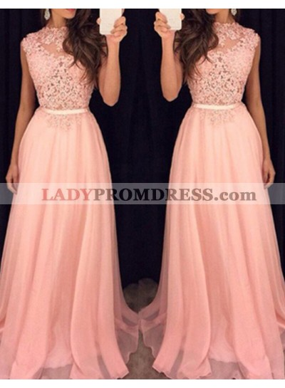 2021 Glamorous Pink Sleeveless Appliques A-Line/Princess Prom Dresses