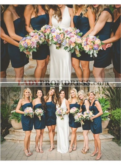 2021 Cheap A Line Short Navy Blue One Shoulder Satin Bridesmaid Dresses / Gowns
