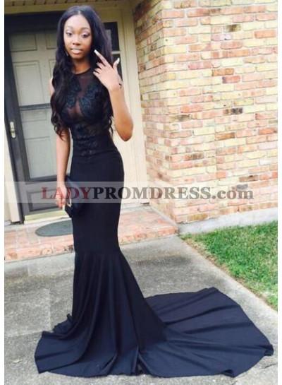 2021 Sexy Black Mermaid/Trumpet Satin Prom Dresses