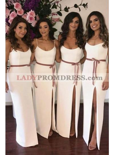 2021 White Sheath Side Slit Spaghetti Straps Belt Bridesmaid Dresses