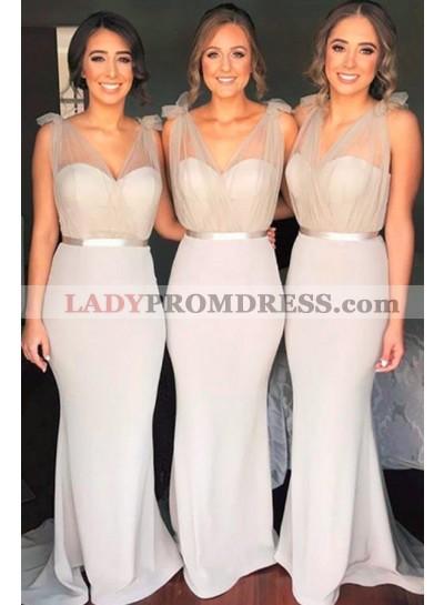 Charming Silver Sheath Sweetheart Satin Bridesmaid Dresses / Gowns