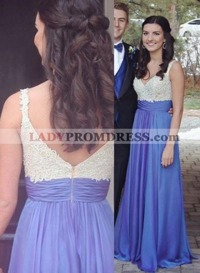 Appliques V-Neck Stretch Satin Royal Blue Prom Dresses