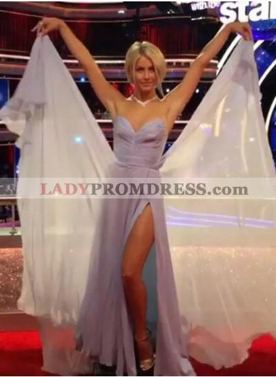 LadyPromDress 2019 Blue Ruching Side-Slit Chiffon Prom Dresses