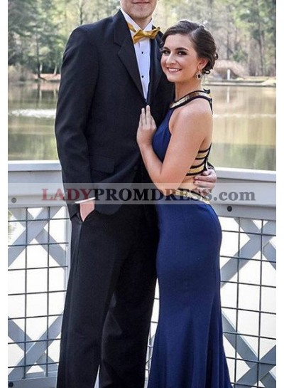 Bandage Sequins Column/Sheath Satin Prom Dresses Navy Blue