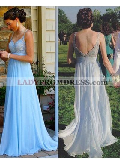 LadyPromDress 2019 Blue Beading Appliques Straps Chiffon Prom Dresses
