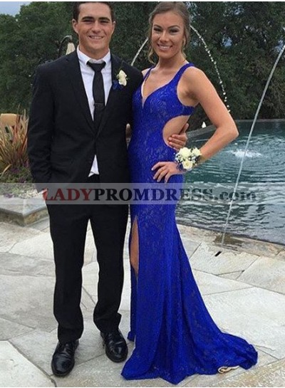 LadyPromDress 2019 Blue Prom Dresses Straps Split Front Backless Mermaid/Trumpet Lace