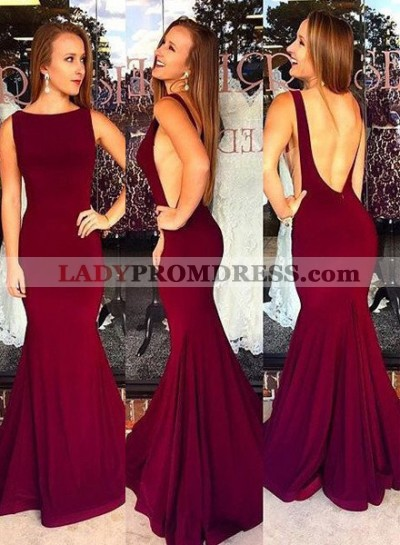 Burgundy Backless Bateau Neck Mermaid/Trumpet Stretch Satin Prom Dresses