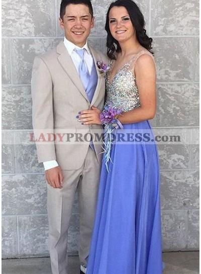 LadyPromDress 2019 Blue Beading V-Neck Chiffon Prom Dresses