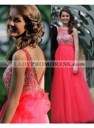 2019 Gorgeous Red Crystal Backless A-Line/Princess Tulle Prom Dresses