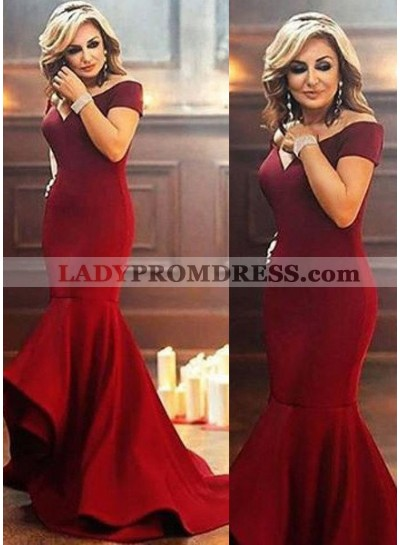 2019 Gorgeous Red Off-the-Shoulder Mermaid/Trumpet Satin Prom Dresses